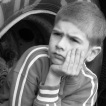 Photo of boy in black and white